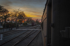 Leaving The Station (Z. Abbey) Tags: sunset canont3i canon canonphotography eos fillmore california southerncalifornia venturacounty trains light