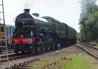 Loco B1 61306 'Mayflower' arriving at Dereham, with its train from Dereham Wymondham. August Bank Holiday Gala .25 08 2013