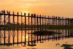 Ubein Bridge (Kathy~) Tags: bridge myanmar sunset burma silhouette people wood vertical 15challengeswinner