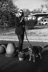 Teddy & Gilbert (BurlapZack) Tags: canonef canonfd50mmf18 kodaktmax100 dallastx oakclifftx portrait dog doggo doggy pup puppy pupper takingthedogforawalk pet owner acorns park dogpark walk walkabout saturdayafternoon stroll fashion sartorial seamstress songstress teddywaggy pooch hound leash sunglasses shades scarf cute babe cutie afternoon sunlight bw mono monochrome film analog 35mmfilm 35mm filmisnotdead grainisgood sadeyes sadpuppyeyes elderlydog