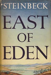 """""""East of Eden"""" by John Steinbeck. New York: The Viking Press, 1952. First edition. First printing. (lhboudreau) Tags: book books hardcover hardcovers hardcoverbook hardcoverbooks classicstory classicfiction classictale vintagebook firstedition bookart illustration illustrations drawing drawings dustjacket dustjacketart jacketart colorart steinbeck johnsteinbeck vikingpress thevikingpress artwork california salinas valley salinasvalley trask hamilton eastofeden 1952 firstprinting viking text writing"""