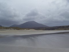 Mealaisbhal (Mealisval 1,883ft), from Uig Beach, Isle of Lewis, April 2018 (allanmaciver) Tags: mealaisbhal lewis isand uig ardroil beach sand reflections dark moddy clouds swirl cool air rain atmosphere western isles outer hebrides allanmaciver
