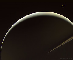 Saturn and Titan (Lights In The Dark) Tags: saturn titan space nasa planet moons