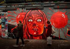 Paranoia (RichardBeech) Tags: graffiti street streetart art paint painting face eyes watching looking paranoia strangers walking phone shopping pedestrians tunnel london uk leakestreet waterloo britain surveillance watchingyou beingwatched blood killbill