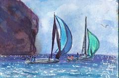 Tour du rocher du Diamant en catamaran (Jluc22fr) Tags: jluc painting watercolor travel martinique 2017 wip final westindies sea boat