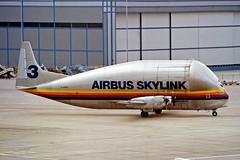 F-GDSG   Boeing 377SGT-201 Super Guppy [003) (Airbus Skylink) Manchester-Ringway~G @ 14/08/1991 (raybarber2) Tags: 3 alpechacollection approachtodo cn3 coded3 egcc fgdsg flickr frenchcivil negative propliner proptransport