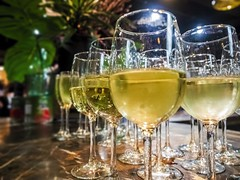 Ready-to-serve glasses of white wine (Victor Wong (sfe-co2)) Tags: abuse alcohol background beverage birthday booze bubbles bubbly carbonated celebration champagne champagneglass closeup cold crystal design drink effervescence festive fizzy fresh function gas gathering glass glassofwine guest healthcare healthy isolated lifestyle liquid liquor lowlight macro outgas party red refreshment romantic service social soda sparkle sparkling sparklingwine spumante transparent wedding wine wineglass