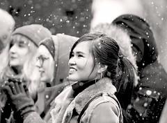 Music Frozen Dancing (kirstiecat) Tags: woman female emptybottle musicfrozendancing street canon snow winter crowd audience fan girl cinematic monochromemonday monochrome blackandwhite noiretblanc smile happy clap