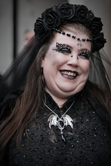 Candid street portrait from Saturday at the Whitby Gothic Weekend, April 2018 (Gordon.A) Tags: yorkshire whitby whitbygoths whitbygothicweekend whitbygothweekend wgw wgw2018 goth gothic lady woman creative makeup costume cosplay culture lifestyle style street festival event streetevent eventphotography amateur streetphotography streetportrait colourportrait colourstreetportrait portrait naturallight naturallightportrait digital canon eos canoneos750d sigma sigma50100mmf18dc