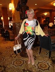 Will Pose For . . . (Laurette Victoria) Tags: pose lobby hotel milwaukee pfisterhotel dress floralprint sweater blonde purse