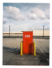 Fire Hose Reel (@fotodudenz) Tags: fuji fujifilm ga645w ga645wi 28mm 45mm box hill melbourne australia 2018 carpark wide angle medium format film rangefinder pont shoot fire hose reel hydrant red yellow fluffy clouds blue sky