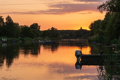 Backwater sunset (bakosgabor57) Tags: sun sunset boat fishermen canal tas water hungary nature spring trees ligthing fishing