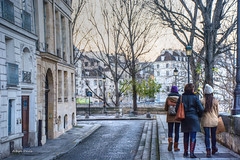 stroll on Ile St-Louis (albyn.davis) Tags: paris france europe people walking buildings architecture evening winter travel city urban trees colors