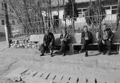 Men In Hats Waiting For Nothing (peterkelly) Tags: digital bw canon 6d asia tajikistan drivetosarytag sarytag village street road bench sitting men hat fence curb building gadventures centralasiaadventurealmatytotashkent