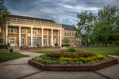 Oakley Hall (donnieking1811) Tags: tennessee cookeville tennesseetechnologicaluniversity tennesseetech ttu goldeneagles oakleyhall architecture building exterior outdoors trees sky clouds sidewalks planter schrubs bushes lamps columns hdr canon 60d lightroom photomatixpro