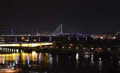 The view over river Sava (emina.knezevic) Tags: city night river savariver belgradebynight belgrade brankovmost mostnaadi nightphotography water bridge savabridge cityphotography