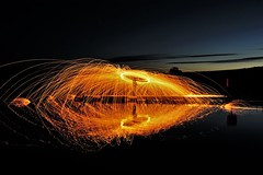 Steel wool spinning. (carolinejohnston2) Tags: night lake lough jetty lights fun sky reflection fermanagh ireland