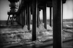 High Tide (mcook1517) Tags: bwartaward huntingtonbeach tide wave water ocean pacific pier southerncalifornia travel tourism structure sand shoreline monochrome blackandwhite contrast