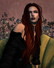 Rose In Chair @ Barwise (mo.angelis) Tags: rose chair red hair long dress green wall beauty beautiful second life secondlife gazing
