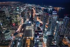 Toronto (karinavera) Tags: city longexposure night photography cityscape urban ilcea7m2 aerial canada view toronto cntower