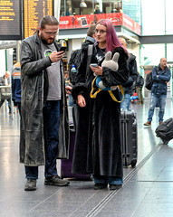 Gothic (whosoever2) Tags: goth learther coat hair man woman girl manchester piccadilly station may 2018 nikon d7100 mobile phone cell smartphone