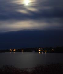P5010497 (Paul Henegan) Tags: 67cropvertical beltane fortpond highresshotincameraprocessing montaukny moon bushes clouds longexposure reflections sky spring