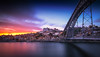 Porto Sunset (Fernando Piçarra) Tags: porto city oporto bridge metal river waer reflection storm clouds dark sky blue cityscape travel destination europe old town ponte eiffel ribeira downtown douro luiz i sunset
