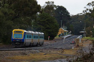 Sydney to Canberra passenger service #SP31 approaches the railway station at Wingello, NSW.