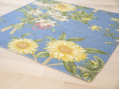 Sunflower Cloth Napkins (.godo) Tags: etsy vintage kitchen cloth napkins textiles blue cornflower sunflower southern country homedecor floral cotton linen botanical print summer picnic bbq barbecue tablescapes shabbychic cottage decoration placemat diningroom tea sunroom breakfast lunch