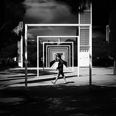 Squared (elgunto) Tags: barcelona parc squares 11 people street symmetry highcontrast light shadows blackwhite bw monochrome silhouette lines perspective architecture fujifilm fujix x100s