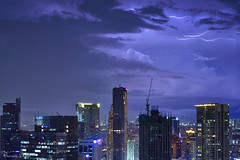 Painting in the sky (Sumarie Slabber) Tags: manila philiippines sky weather storm stormy clouds lightning city night lights blue sumarieslabber longexposure