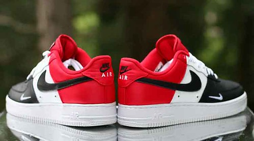 Nike Air Force 1 Low LV8 Black Toe Mini Swoosh Red White 823511-603 Size f5569a952