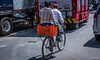 2018 - Mexico City - Bikers (Ted's photos - For Me & You) Tags: 2018 cdmx cityofmexico cropped mexico mexicocity nikon nikond750 nikonfx tedmcgrath tedsphotos tedsphotosmexico vignetting bike bicycle streetscene street riders people peopleandpaths ballcap couple two duo wheels shadow shadows orange