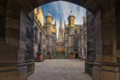 The New College courtyard (MilesGrayPhotography (AnimalsBeforeHumans)) Tags: 1635 sonyfe1635mmf4zaoss architecture auldreekie a7ii buildings britain university universityofedinburgh newcollege college courtyard city mound edinburgh europe evening fe f4 golden historic historicscotland iconic ilce7m2 kirk landscape lens landscapephotography monument nd outdoors old oss oldtown photography photo royalmile scotland sky scenic skyline sunlight sonya7ii sony scottish scottishlandscapephotography shadows town tower towers uk unitedkingdom unesco wide spring spire zeiss