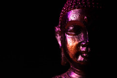 Buddha Statue in Low Key Light (Anikó Lázár) Tags: lowkey macromondays buddha head lights canoneos760d canon canonefs35mmf28macro dark black 35mm macro
