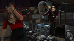 NEEDS MORE COWBELL (alexandriabrangwin) Tags: alexandriabrangwin secondlife 3d cgi computer graphics virtual world photography mondybristol saturday night live blue oyster cult dont fear reaper song dj booth playing bucket cowbells needs more cowbell meme joke funny silly metal leather biker goth jacket pants dumping tipping