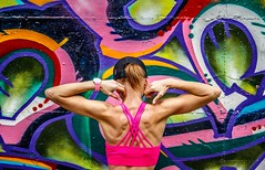 Muscles... (Yaoluca) Tags: fitness gym woman portrait back color graffiti murales wall hdr canon canon1300d