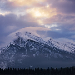 Rundle Magic (andrewpmorse) Tags: landscape landscapes mountrundle rundle banff banffnationalpark telephoto sunrise clouds sky square mountains snow winter canada alberta nationalpark nationalparks canon 70200mmf28l leefilters leelandscapepolarizer