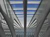 Liège-Guillemins Railway Station 2 (RobertLx) Tags: railwaystation belgium liège europe transportation city calatrava vertical horizontal grid graphic symmetry repetition shadow light steel glass rooftop building modern contemporary geometric architecture lines white blue