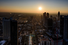 Silhoutte City (Aleem Yousaf) Tags: silhoutte city dusk brown sunshine sunlight cityscape lines shadow light main tower skyscraper innenstadt district frankfurt germany observation deck platform public vantage point cuboid circular commercial offices neue mainzer strase hesse schweger burggraf weichinger partner tourist sunset construction cranes downtown skyline sky golden glow graduated filter neutral density messeturm westendstrase1 trianon silberturm frankfurterbürocenter hauptbahnhof hbf central station railway architecture outdoor building infrastructure buildingcomplex highrise evening