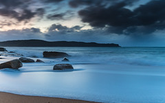 Daybreak Seascape with Clouds and Rocks (Merrillie) Tags: daybreak sunrise nature dawn clouds centralcoast morning northpearlbeach sea newsouthwales rocks pearlbeach nsw sky rocky ocean earlymorning landscape australia coastal waterscape outdoors seascape waves coast water seaside