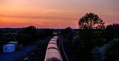 Passing trains (Peter Leigh50) Tags: sunset train railway wistow road bridge rural railroad rail hst fujifilm fuji xt2