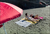 (Red) (Robbie McIntosh) Tags: leicam9p leica m9p rangefinder streetphotography 35mm leicam autaut candid strangers leicaelmarit28mmf28iii elmarit28mmf28iii elmarit 28mm seaside woman belly tan naked colonnaspezzata bikini swimsuit streetsincolor umbrella