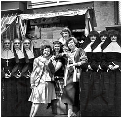 Last vestiges of teen-dom, as the nunnery beckons with obvious glee. (Fotofricassee) Tags: 1940s summer brownsville girls teenagers women nun brooklyn