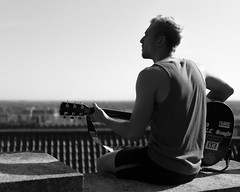 Songwriting (C. E. Kingsley-Jones) Tags: nikon 35mm 18g people person portrait black white bw guitar guitarist acoustic sky landscape mood contrast power powerful human physique songwriting music musician