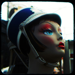 Lips (rustman) Tags: mannequin head dummy makeup hat marchingband majorette red white blue square color colorful saturated urbanacid pentax istd kodak duaflex2 ttv throughtheviewfinder texaslife