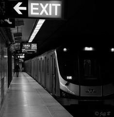 12:43 Northbound (jeffb477) Tags: blackwhite bw subway train transit ttc toronto ontario canada canadian creepy lonefigure nikon d7100
