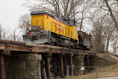 Not-So-Common Railroading & Other Nursery Rhymes - Concord, NH (CWentzell Photography) Tags: negs new england southern railway railroad rail freight train track newhampshire united states america cloudy april 2018 trestle bridge ballast motivepower locomotive unit engine