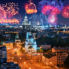 Moscow Firework (liseykina) Tags: moscow night firework russia fromabove