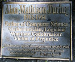Manchester = Alan Turing Memorial plaque in Sackville  Gardens = PLEASE SEE SEPARATE  PICTURES OF THE ACTUAL MONUMENT (rossendale2016) Tags: logician commemorating floor mathison war wartime mathematician apple sitting form ornate bras codebreaker breaker code science computer father persecuted prejudice victim monument plaque gardens sackville village gay manchester touring alan